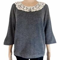 New Womens Grey Amichi Wool Blend Crochet Collar Three Quarter Sleeve Jumper Top