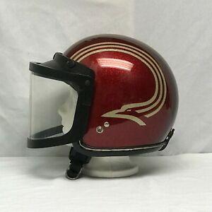 Vintage-60-039-s-Snowmobile-DAIEI-H-50-Red-Silver-Helmet-Sz-X-Large-Visor-JAPAN-1966