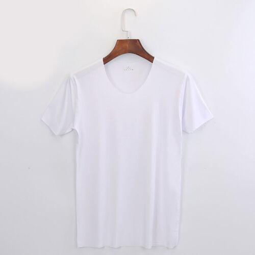 Men/'s Thin Ice Silk t-Shirt Summer Slim V-neck bottom Short Sleeve Basic T-shirt