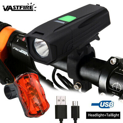 LED Bicycle Light Front Lamp USB Rechargeable Bike Cycling Headlight Taillight