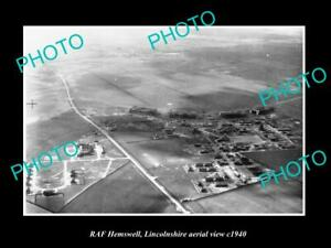 OLD-POSTCARD-SIZE-MILITARY-PHOTO-AERIAL-VIEW-OF-RAF-HEMSWELL-LINCOLNSHIRE-c1940