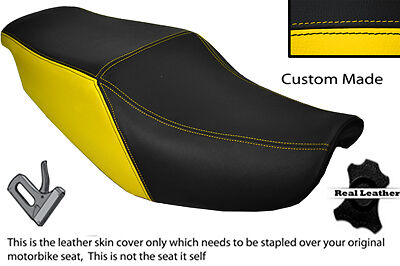 BLACK /& YELLOW CUSTOM FITS HONDA CBR 1000 F 87-88 DUAL LEATHER SEAT COVER