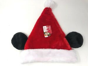 Disney-Mickey-Mouse-Ears-Santa-Hat-One-Size-Kids-Adult-Size-Christmas-Holiday