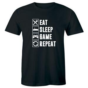 Eat-Sleep-Game-Repeat-Gamer-Men-039-s-T-Shirt-Funny-Nerd-Geek-Gaming-Tee