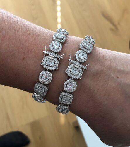 Men/'s Iced Solid 925 Sterling Silver Baguette Tennis Bracelet Hip Hop Women
