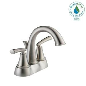 Delta Kennett 4 In Centerset 2 Handle Bathroom Faucet In Stainless