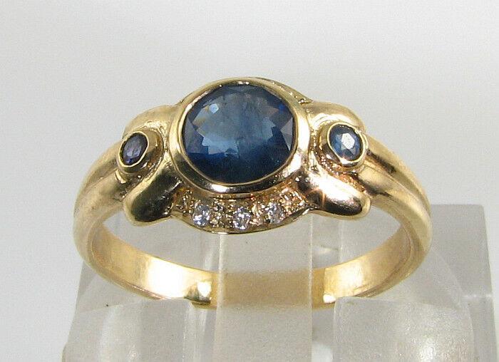 74bc148bd DIVINE 9CT 9K gold blueE SAPPHIRE DIAMOND ART DECO INS RING FREE RESIZE  nomeno197-Rings