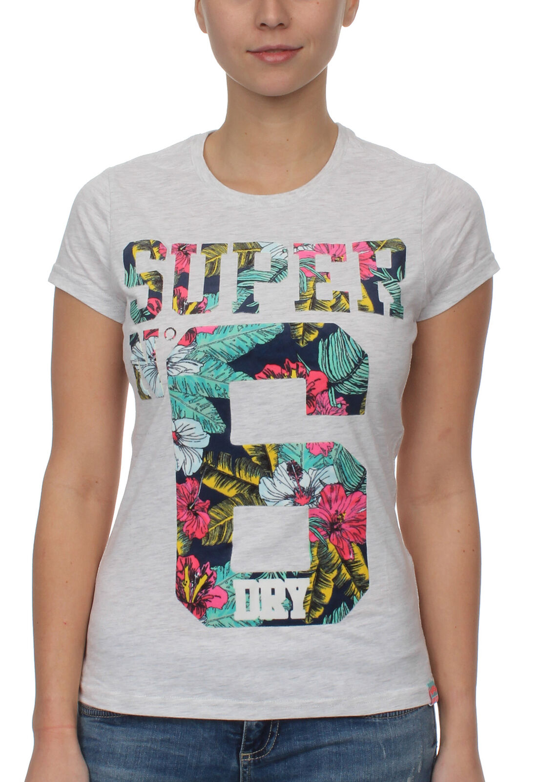 Superdry T-Shirt Ladies Super No. 6 Infill Ice Marl