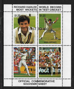 NEW-ZEALAND-1990-RICHARD-HADLEE-CRICKET-RECORD-Cinderella-Souvenir-Sheet-MNH