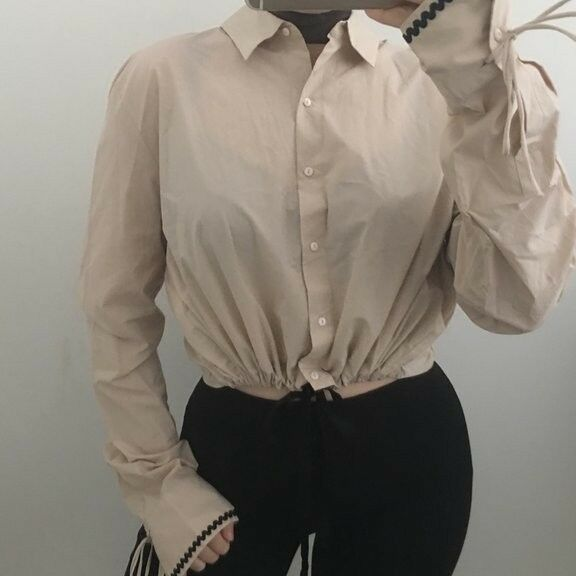 Zara STUDIO Nude Cropped Shirt With Ribbons SIZE LARGE BNWT