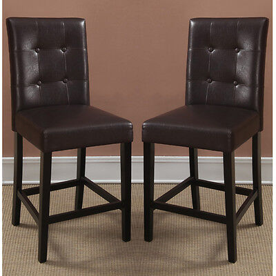 "2 pcs Dining High Counter Height Side Chair Bar Stool 24""H Espresso Faux Leather"