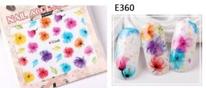 Nail-Art-Water-Decals-Stickers-Transfers-Spring-Water-Effect-Flowers-tulips-E360