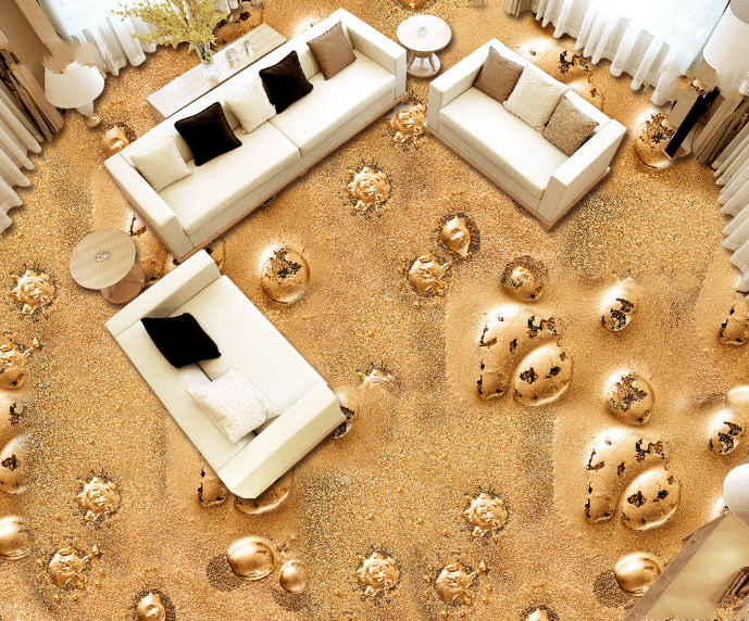 3D Golden Stone Beach 56 Floor WallPaper Murals Wall Print Decal AJ WALLPAPER
