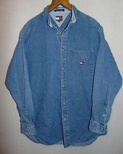 dd4772845 Image is loading Tommy-Hilfiger-Jeans-Vintage-Denim-Western-Shirt-Blue-