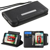 For Lg Optimus L70 Black Money Card Wallet Strap Accessory Skin Cover Case