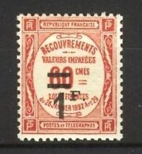 FRANCE-STAMP-TIMBRE-TAXE-N-53-034-RECOUVREMENT-1F-s-60c-ROUGE-034-NEUF-xx-LUXE-B113