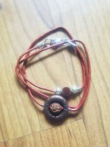 womens-handmade-unique-love-rose-gem-on-2mm-red-leather-fashion-bracelet-wrap