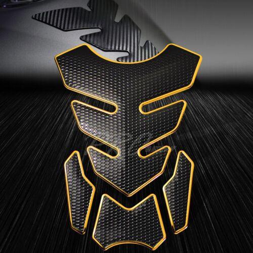 "4PC Chrome Gold/&Black Fuel Tank Pad+6/"" 3D Logo/&Letter+2-Tone GSXR Emblem Sticker"