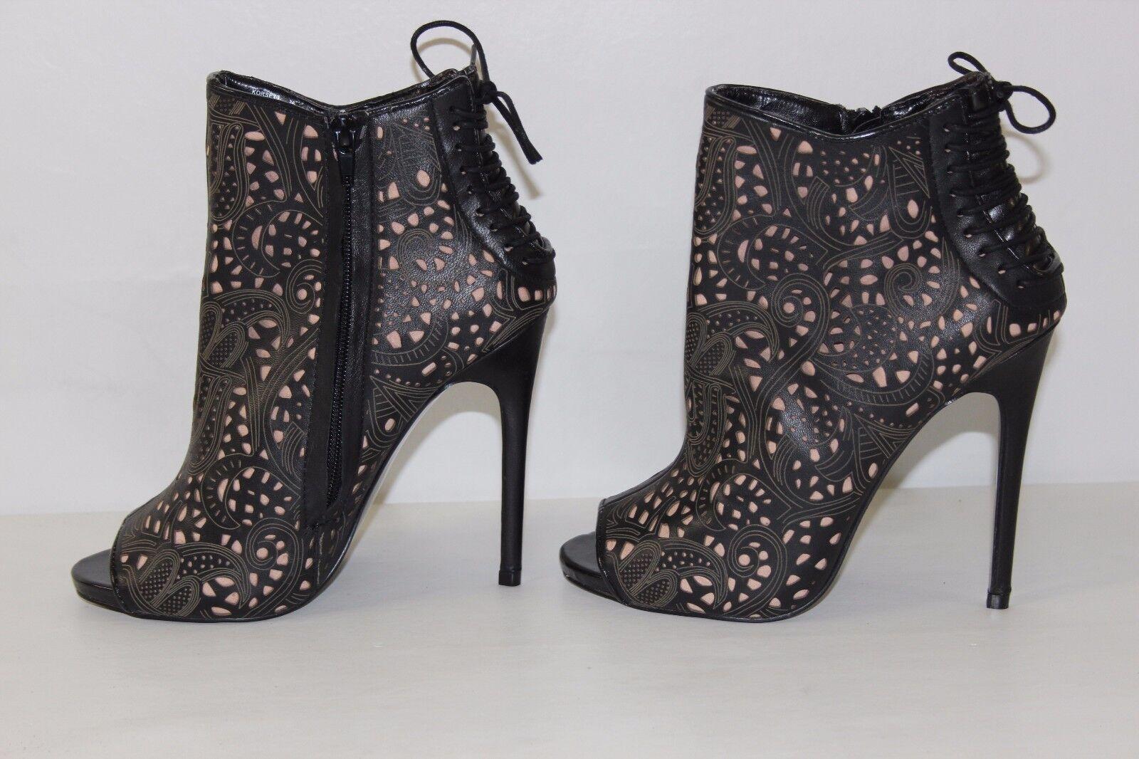 Steve M Madden mujeres 7.5 M Steve Negro Cuero Marrón Tostado Tacones Altos Abotinados botas Nuevo abbedd