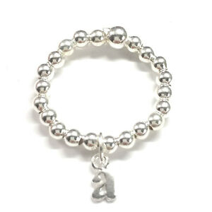 Image is loading Sterling-Silver-Initial-Letter-Dangle-Charm-Stretch-Bead- d89c7f766b
