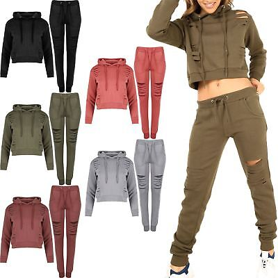Women Girls Destroyed Ripped Lazer Cut Out Cuffed Hooded Hoody Joggers Tracksuit Elegant Im Geruch