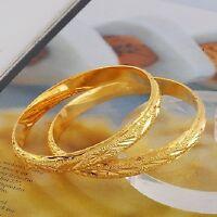 24k Gold Filled Italian Cut Women's 7-1/4 Opening Bracelet Bangle +velvet D225