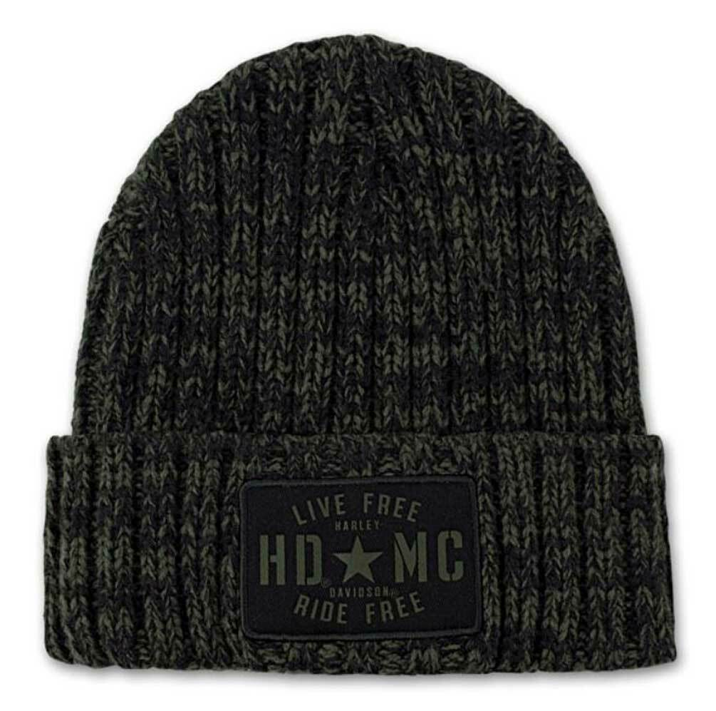 Green-black Harley-Davidson beanie with military star