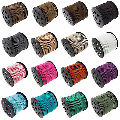 Hot 3mm Genuine leather Suede Cord Beading Thread Lace Flat Jewellery Making DIY