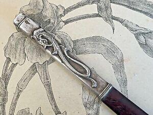 Ancien Coupe Papier Dragon en bois et métal argenté 17,8 cm