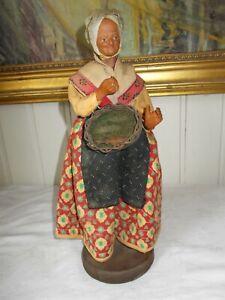 ANCIEN-grand-SANTON-PROVENCE-31cm-femme-panier-poisson