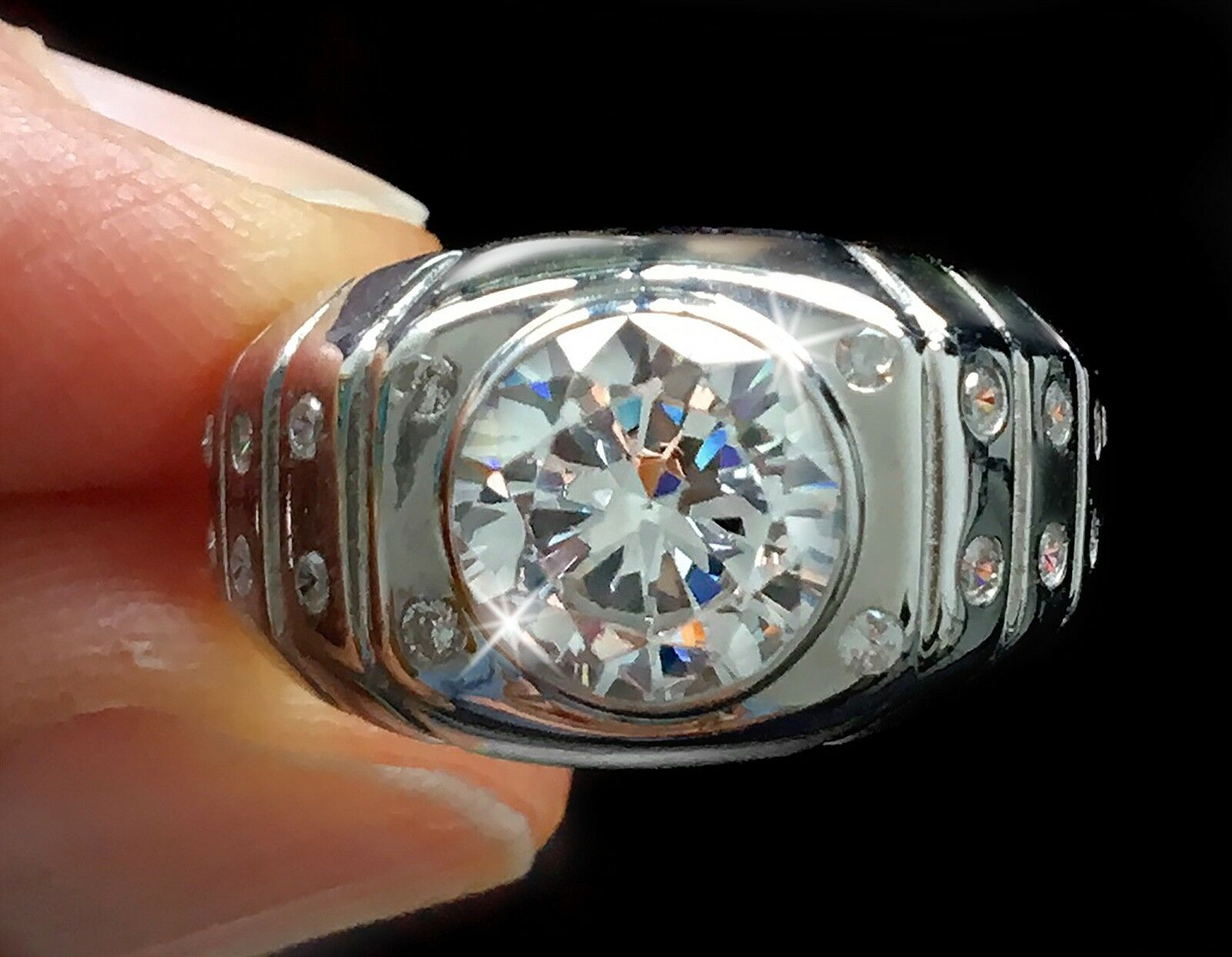 3 ct Extra Brilliant Men's Ring Top Vintage CZ Imitation Moissanite Simulant 11