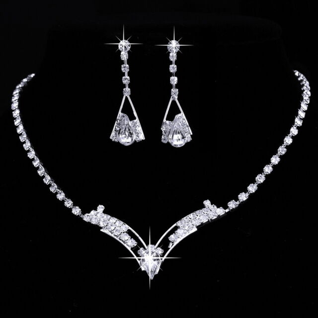 Crystal Bridesmaid Silver Necklace Earrings Wedding Bridal Jewelry Set Fashion