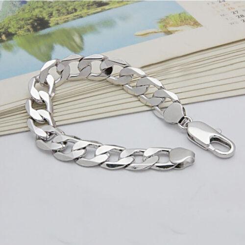 Charm Argent 925 Rempli Bracelets Bijoux 6mm-12mm Pour Hommes Femmes Fête Cadeaux