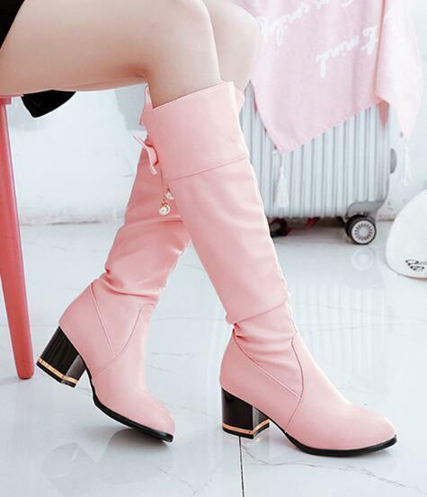Womens Med Chunky Heels Bow Knot Knee High Riding Boots Round Toe shoes SZ T455
