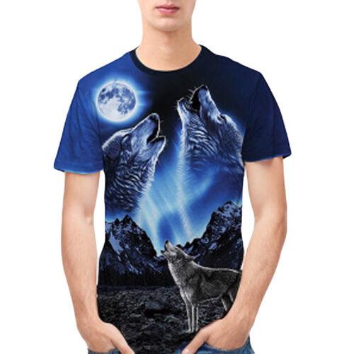 Homme Garçon 3D Print tees shirt Top Blouse Casual Slim Fit à manches courtes chemises J