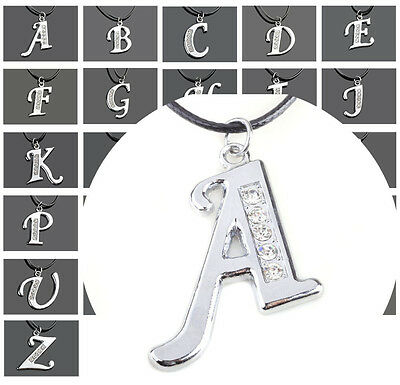 26Letters Silver Tone Ititial Letter Beauty A-Z Leather Pendant Necklace Fashion