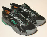 Mens Fila Black Green Running Training Sneakers Shoes Size 9M