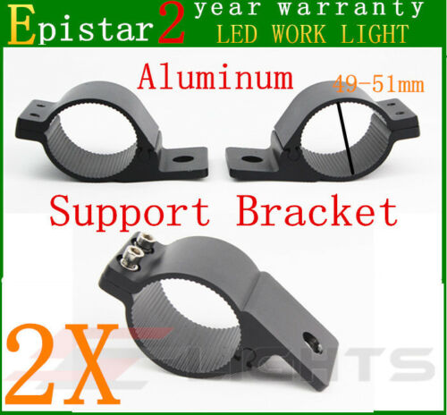 2X 49-51mm Bull Bar Roof Roll Cage Tube Mount Bracket Clamp LED Light Holder