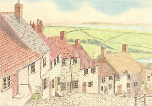 N.K. Day - 1996 Pen and Ink Drawing, Gold Hill, Shaftesbury