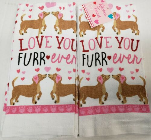 """SET of 2 SAME PRINTED KITCHEN TOWELS FURR EVER DOGS 15/"""" x 25/"""" MI LOVE YOU"""