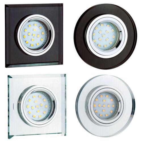 Einbaustrahler 1,3,5,7,10 Set Glas Rund Eckig GU10 LED Einbauleuchte OH267