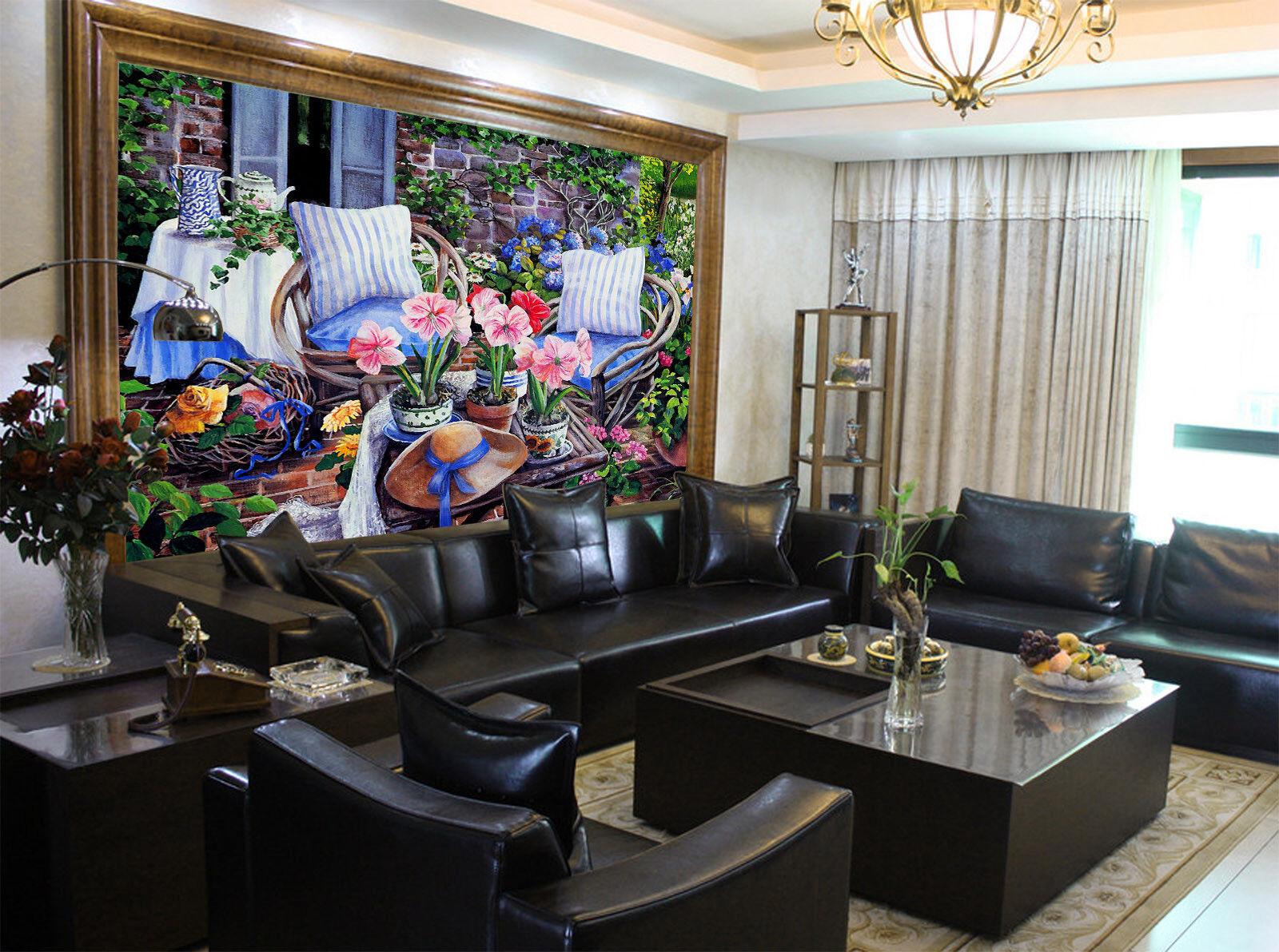Papel Pintado Mural De Vellón 21 Sofá Balcón Flores 21 Vellón Paisaje Fondo De Pantalla ES 1aec4c