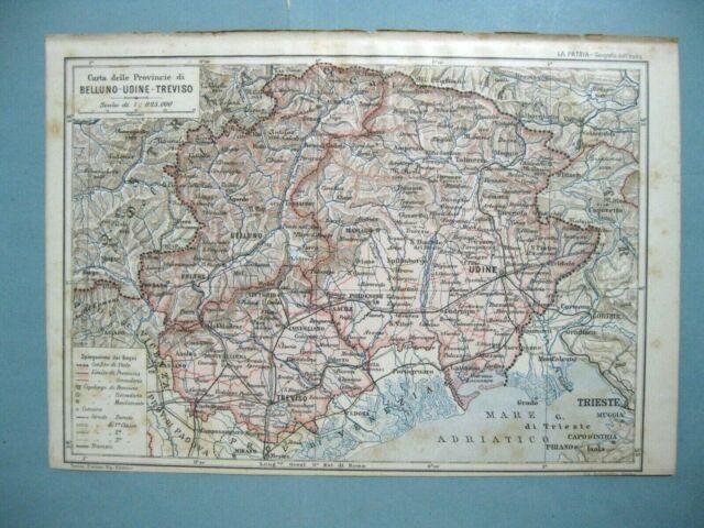 Cartina Veneto Treviso.Antica Mappa Carta Della Provincia Di Belluno Udine Treviso Veneto 1905 Ebay