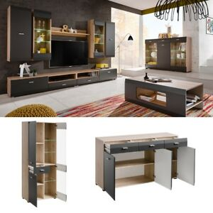 Details About Wall Unit Media Tv Stand Led Modern Living Room Furniture Entertainment Center