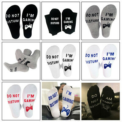 Unisex Funny Socks DO NOT DISTURB I AM GAMING Men Women Funny Letter Socks Fw