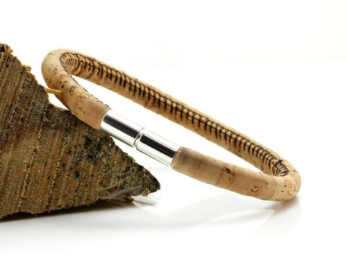5 mm natural portugués Cork-Cierre de Plata Esterlina Pulsera de hombre-SEÑORAS BRAZALETE