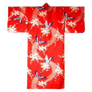 Japanese-Yukata-Kimono-Sash-Belt-Robe-Women-Cotton-56-034-Red-Peacock-Made-in-Japan