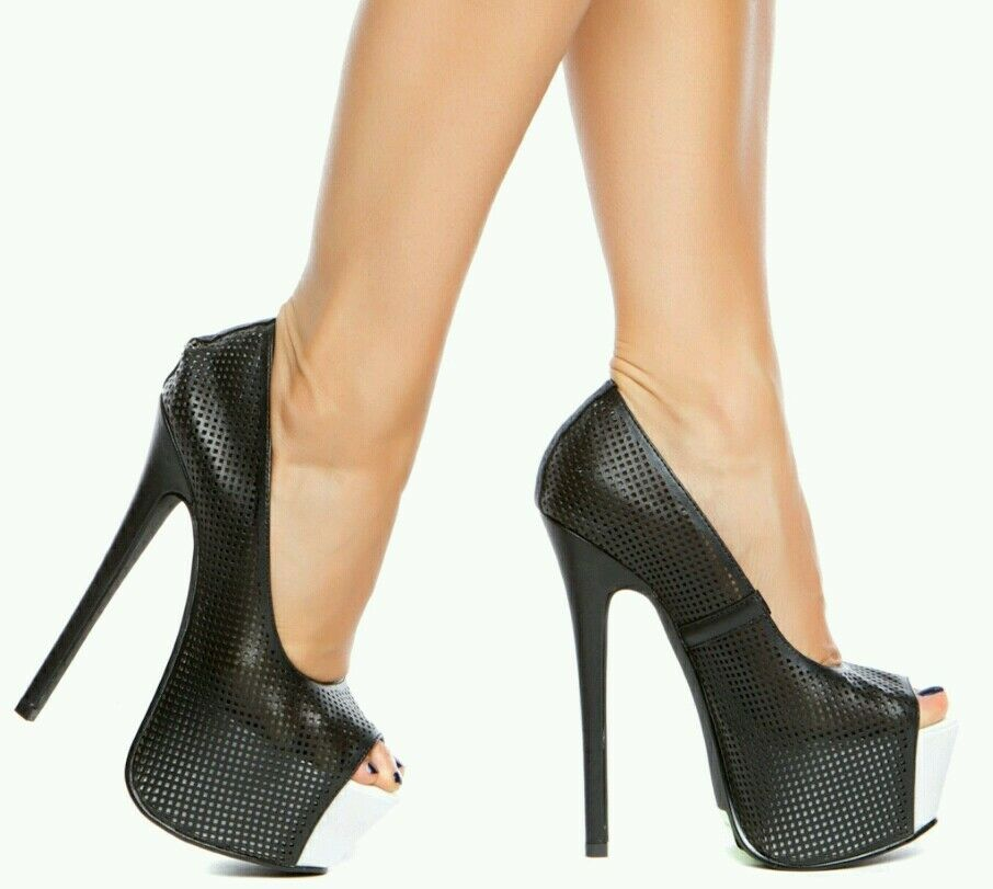 SASSY BLACK AND WHITE HIGH HEEL OPEN TOE NOW  WITH FREE SHIPPING