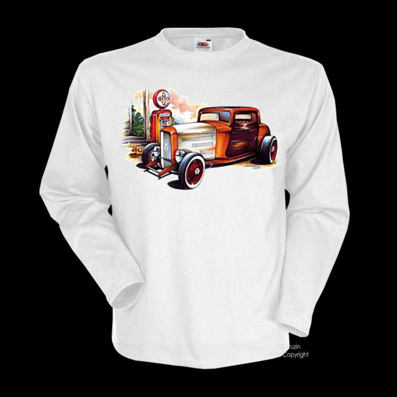 * Vintage Hotrod Oldtimer T-shirt Old School Kustom *1145 Ls Wh