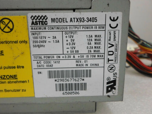 Gateway 6500510,6500506,6500545 Astec ATX93-3405 90W Power Supply used  tested